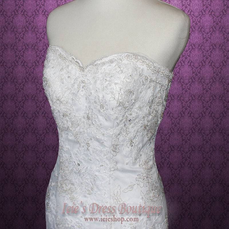 Size 4 Retro Vintage Style Lace Fit and Flare Wedding Gown