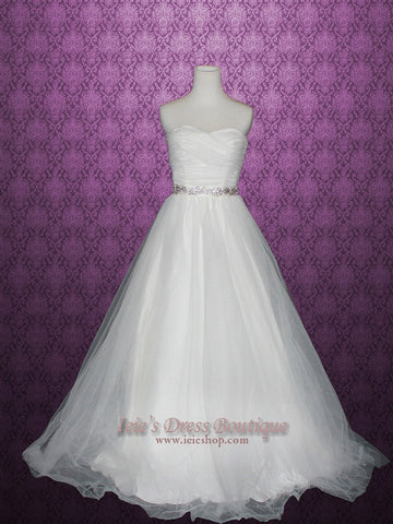 Simple Strapless Tulle Wedding Dress with Ruched Sweetheart Neckline | Cindy