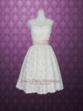 Cap Sleeves Retro 50s Tea Length Lace Wedding Dress