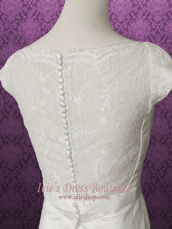 Cowl Neck Modest Transparent Lace Back Slim A-line Wedding Dress Size 4