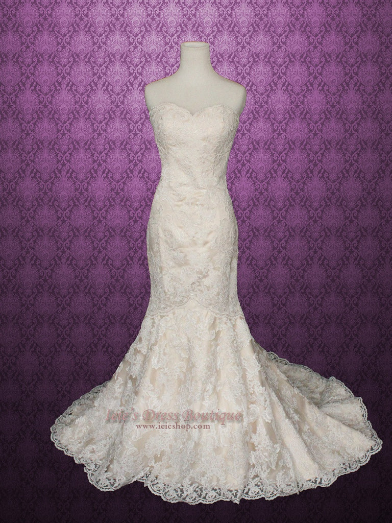 Vintage Style Strapless Sweetheart Lace Mermaid Wedding Dress With Champagne Lining