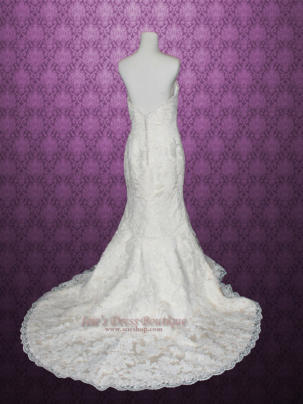 Vintage Style Strapless Sweetheart Lace Mermaid Wedding Dress