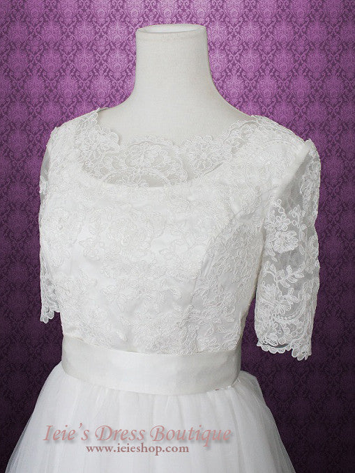 Vintage Lace Tulle Wedding Dress with Sleeves