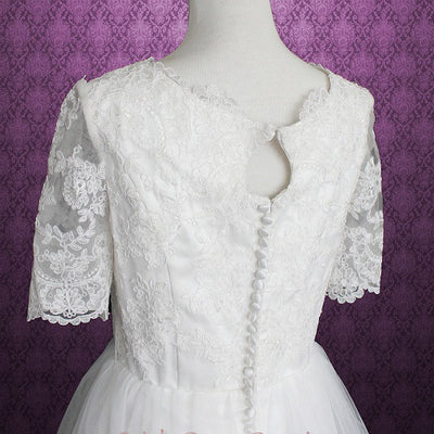 Vintage Lace Tulle Wedding Dress with Sleeves and keyhole back