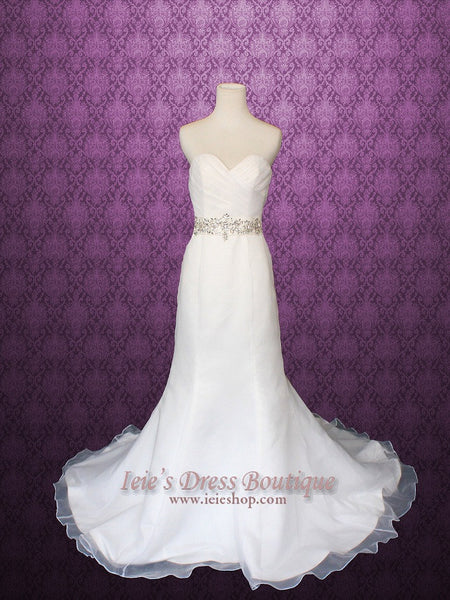 Strapless Organza Mermaid Wedding Gown with Jeweled Belt