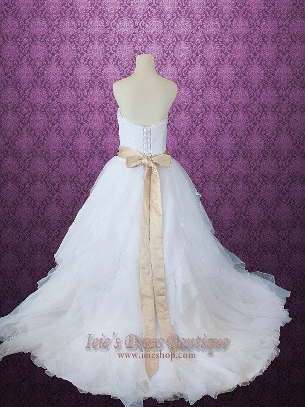 Strapless Sweetheart Organza Ruffle Princess Ball Gown Wedding Dress