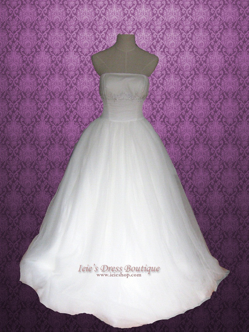 Princess tulle wedding dress with ruched waist