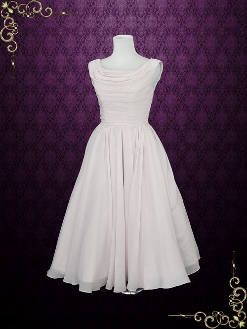 Short Retro Chiffon Wedding Dress with Cowl Neck | Karin