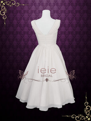 Ready To Ship Size 20W Short Retro Chiffon Wedding Dress with Cowl Neck | Karin