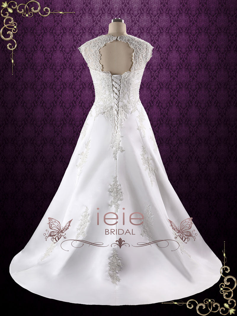 0e5dd21198 A-line Lace Wedding Dress with Keyhole Corset Back