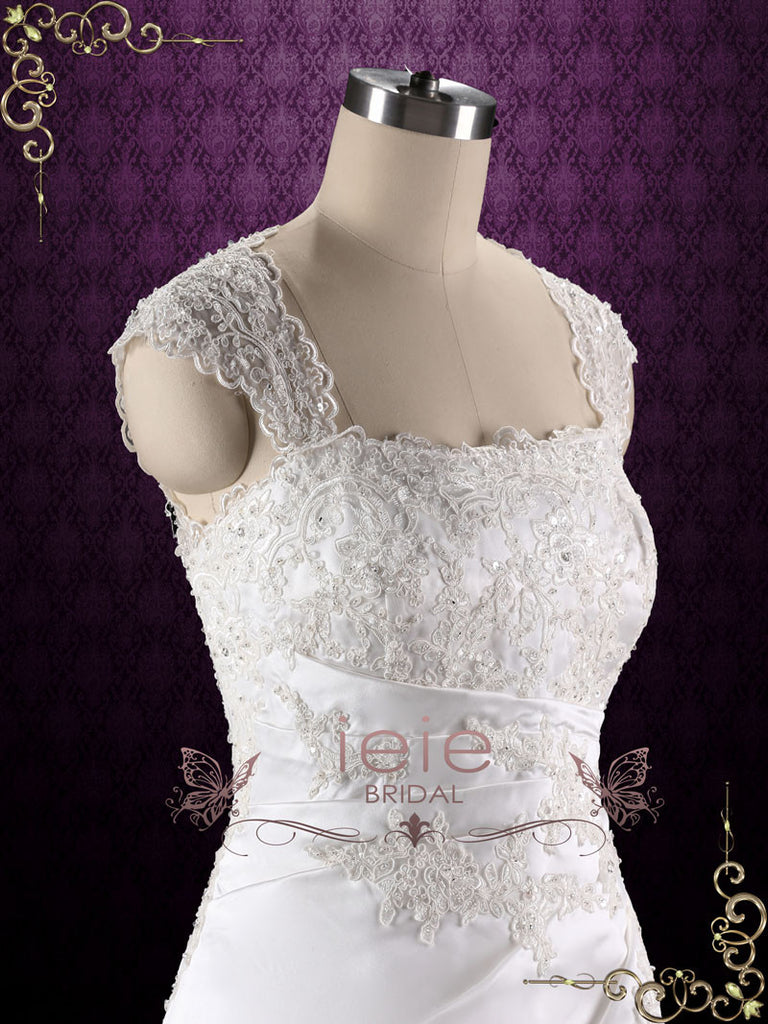 A-line Lace Wedding Dress with Keyhole Corset Back | Sue