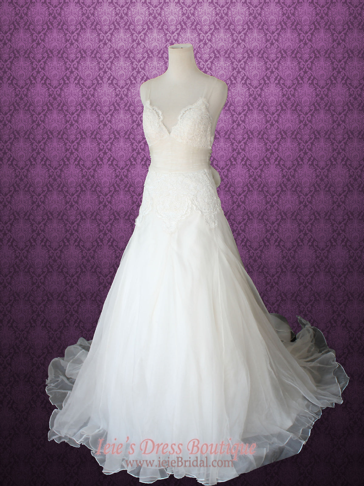 Whimsical Cross Back Organza V Neck A-line Beach Lace Wedding Gown ...