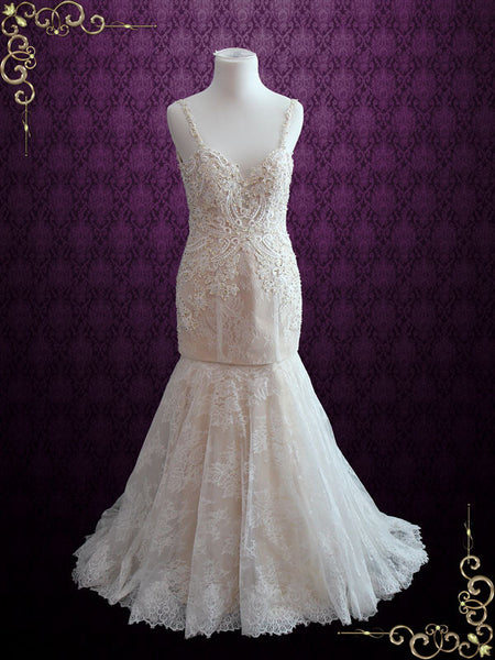 Backless Mermaid Lace Wedding Dress with Detachable Skirt | Kristen