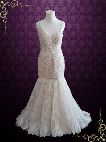 Backless Champagne Mermaid Lace Wedding Dress with Detachable Skirt | Kristen