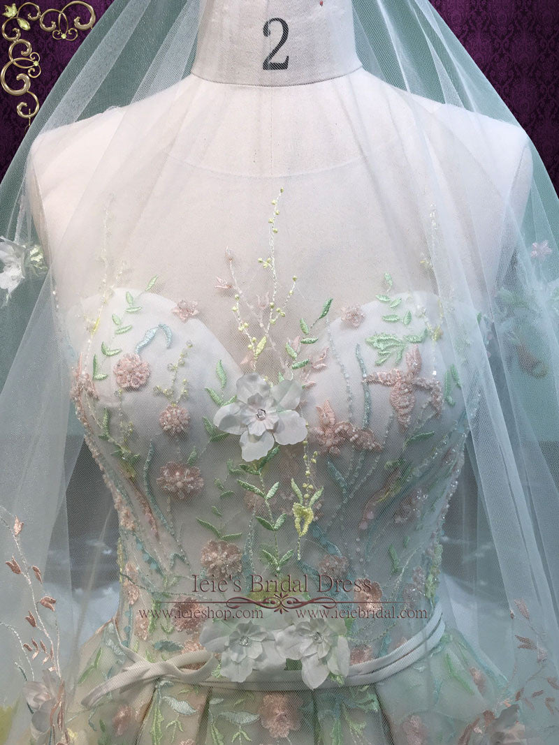 Pastel Colored Embroidered Lace Wedding Dress With Royal
