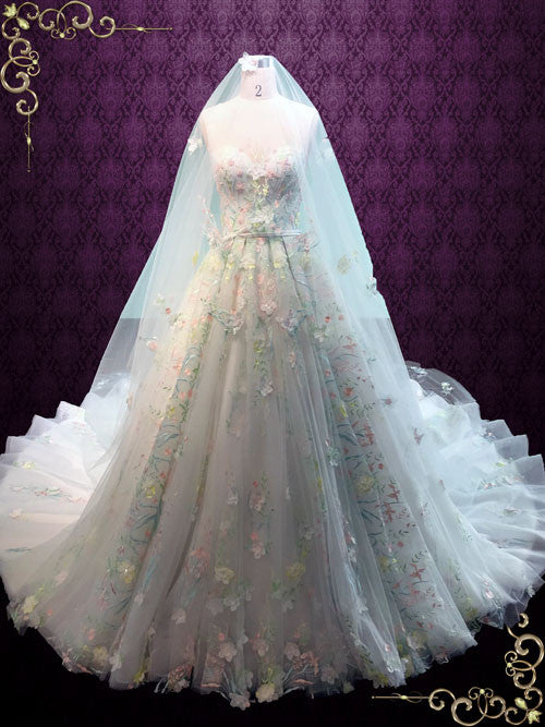 Pastel Colored Embroidered Lace Wedding Dress With Royal Train