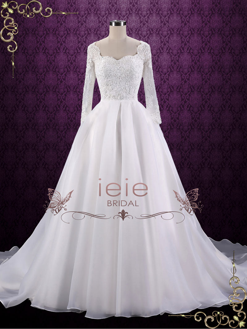 Ball Gown Style Lace Wedding Dress with Sleeves | Corina – ieie