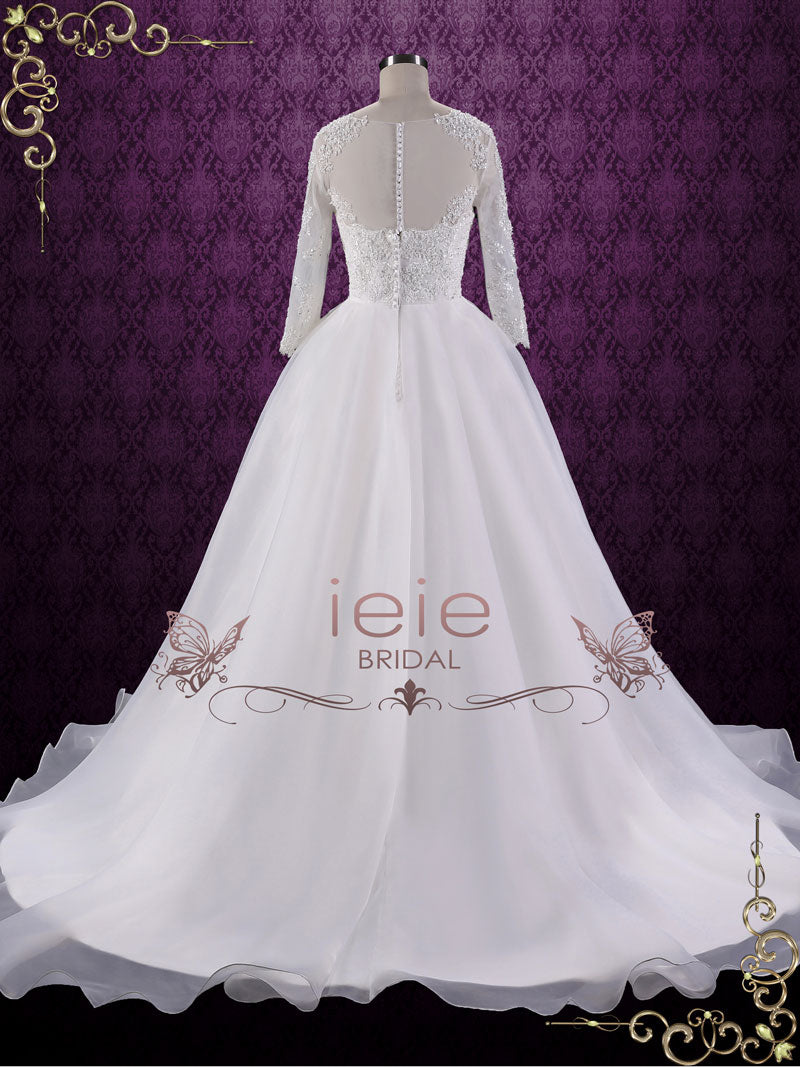 Ball Gown Style Lace Wedding Dress with Sleeves | Corina