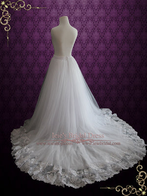 A-line Wedding Dress Tulle Skirt with Lace Hem | Cyra