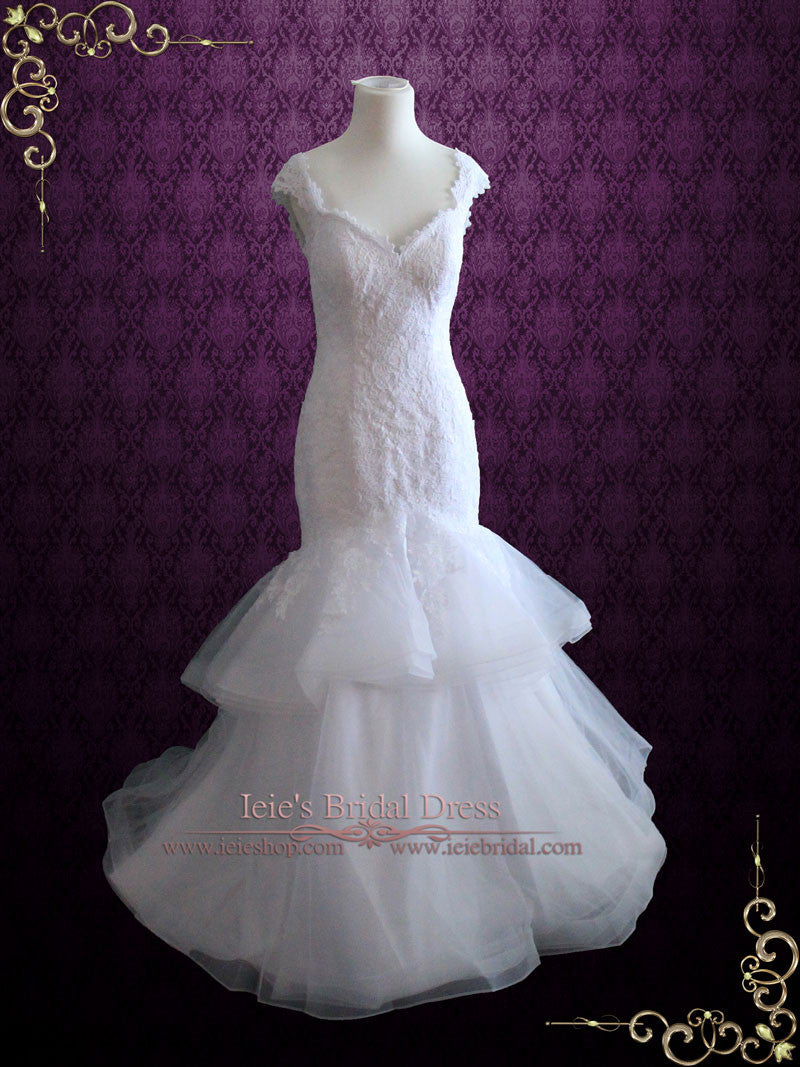 Lace Mermaid Wedding Dress with Open Back Cap Sleeves and Ruffle ...