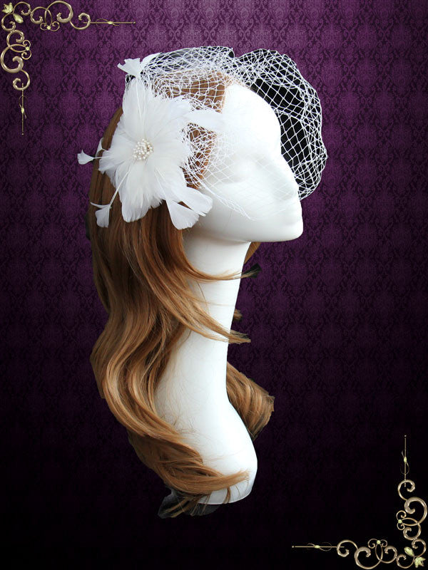 Ivory Bird Cage Veil with Feather Flower VG1032