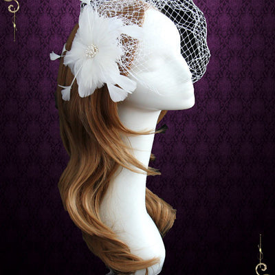 Ivory Bird Cage Veil with Feather Flower | VG1032