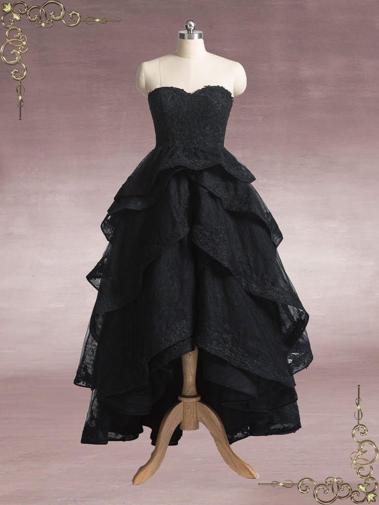 Black Strapless High Low Lace Wedding Dress MARYANN