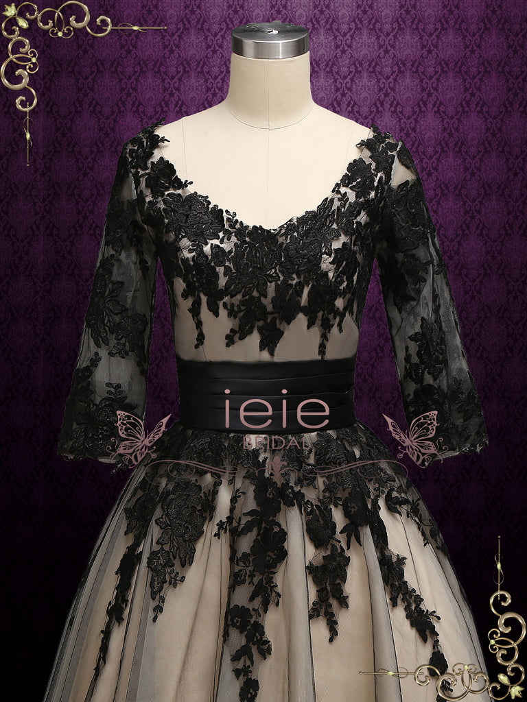 Short Black Lace Wedding Formal Dress PAMELA