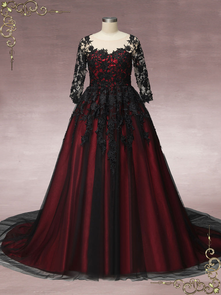 Black Lace Wedding Dress with Red Lining BLAIR