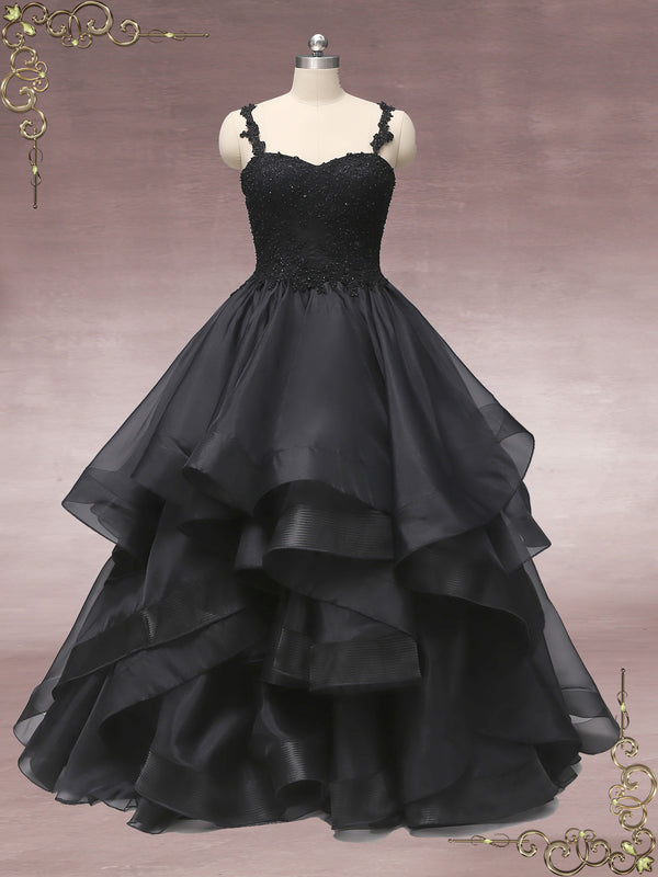 Black Lace Wedding Dress with Ruffle Skirt | CAITLIN