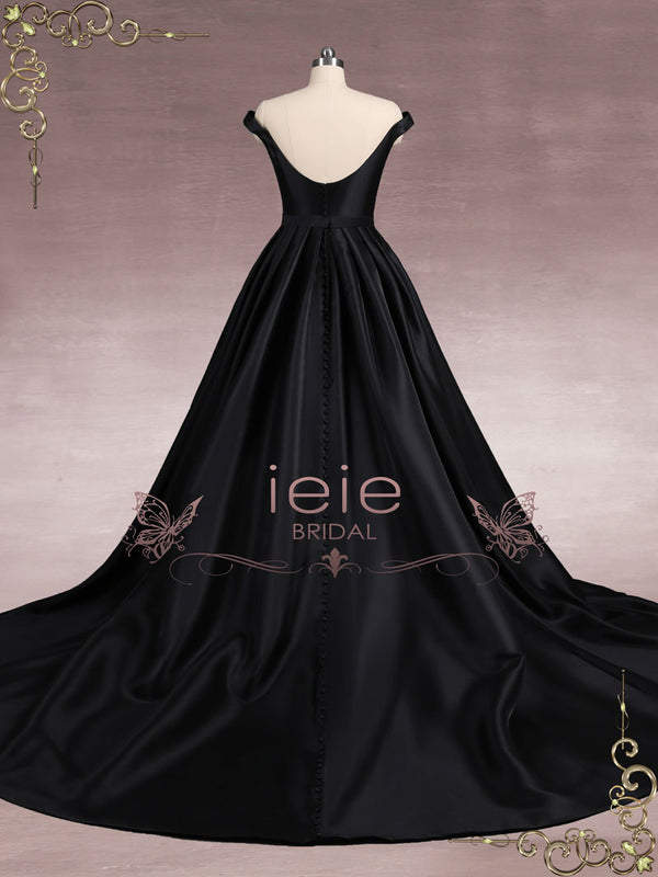 Black Satin Ball Gown Wedding Dress