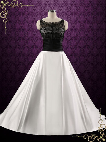 Black and White Lace A-line Wedding Dress | Lorraine