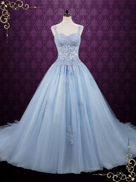 Blue Cinderella Style Ball Gown Wedding Dress Seattle Ieie