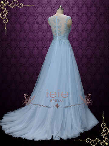 Blue Lace Wedding Formal Dress with Illusion Lack Back | KAY