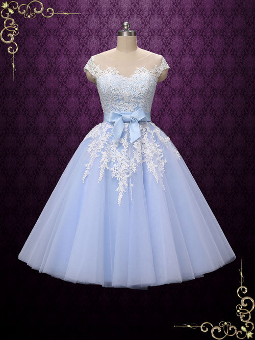 e4345185dea Blue Retro Tea Length Wedding Dress with Illusion Neckline