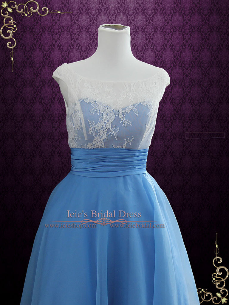 Size 4 Blue Vintage Style Tea Length Formal Dress EDENA