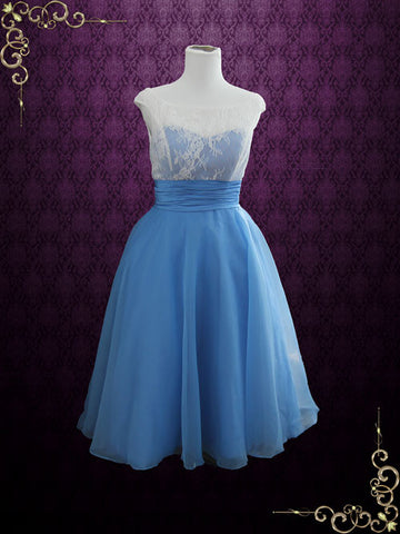 Modest Blue Retro Tea Length Formal Dress | Edena