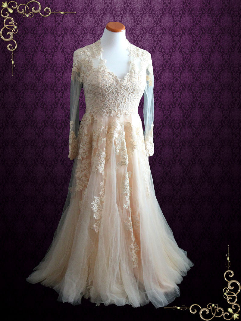 Blush Peach Lace Wedding Dress With Long Sleeves | Ronna