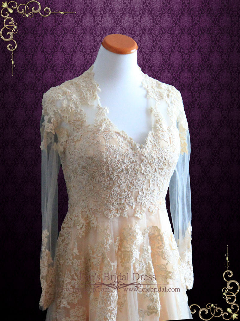 Blush peach lace wedding dress with long sleeves ronna for Long sleeve blush wedding dress