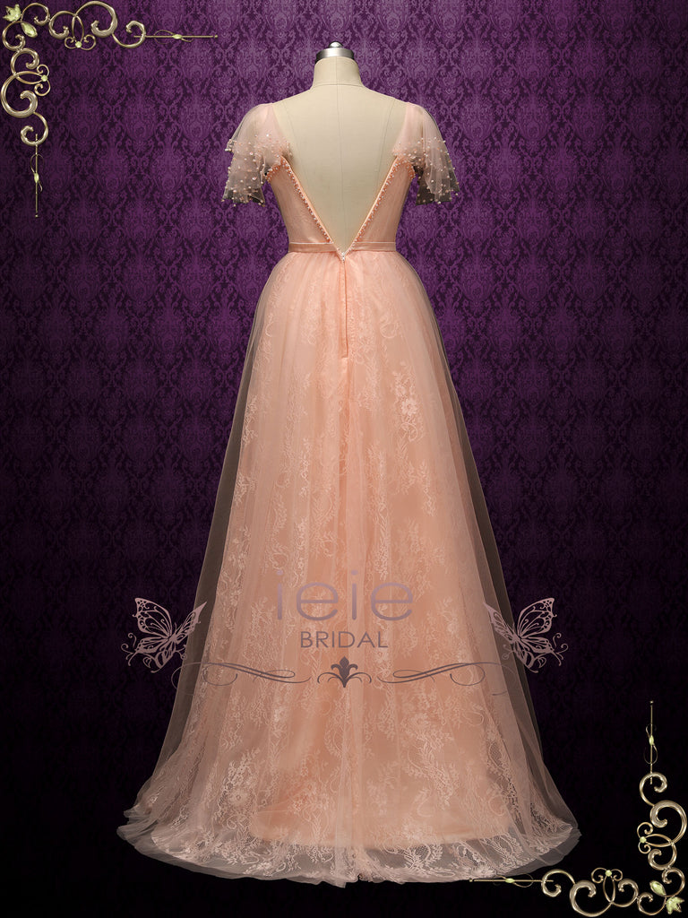 Peach Colored Lace Wedding Dress ATLAS with open v back