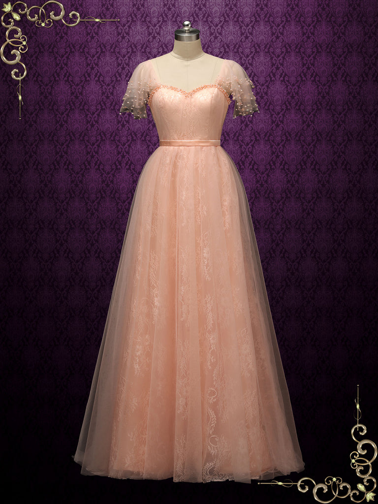 Peach Colored Lace Wedding Dress ATLAS