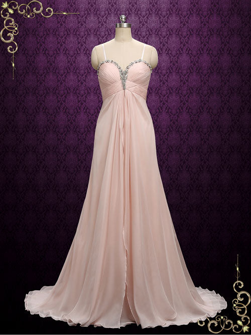 Blush Pink Chiffon Maid of Honor Bridesmaid Dress | A9