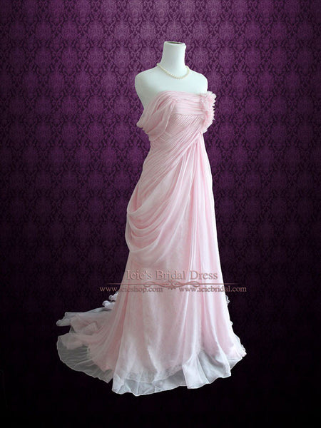 Blush Pink Ethereal Grecian Goddess Off Shoulder Beach Prom Dress