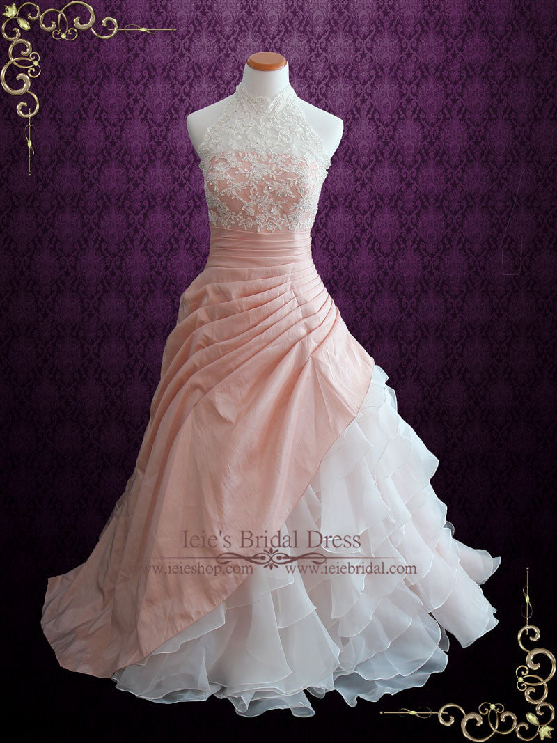 Halter Blush Pink Ball Gown Wedding Dress with Organza Ruffles ...