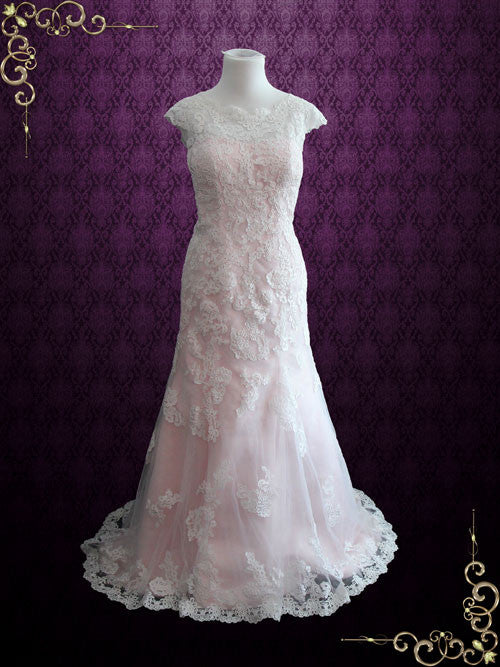 Modest Vintage Lace Pink Wedding Dress with Cap Sleeves | July