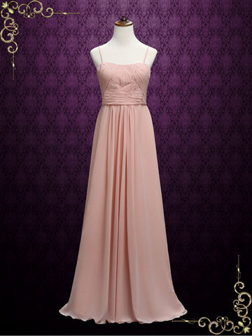 Long Chiffon Maid of Honor Bridesmaid Dress with Thin Straps | A6