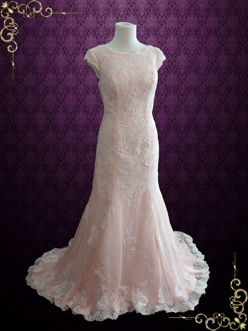 Modest Pink Chiffon Lace Wedding Dress with Cap Sleeves | Tania