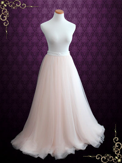 Blush Pink Wedding Dress Soft Tulle Skirt Aria Ieie Bridal