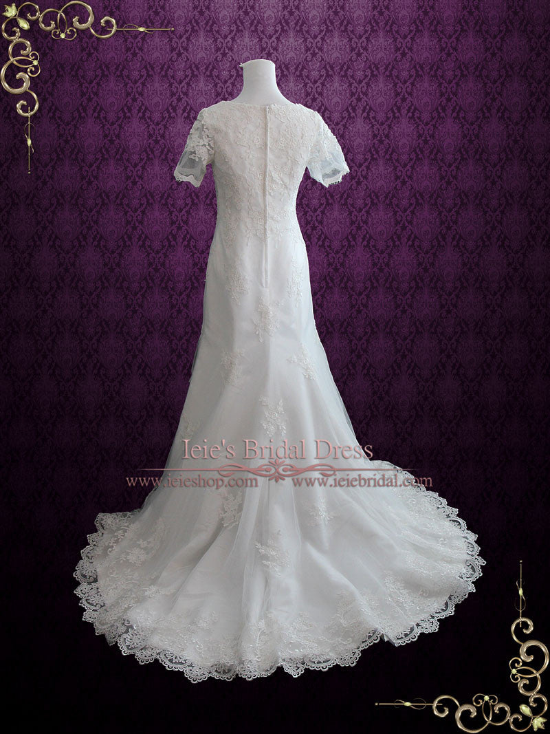 Bohemian lds lace wedding dress with sleeves kate ieie for Lds wedding dresses lace