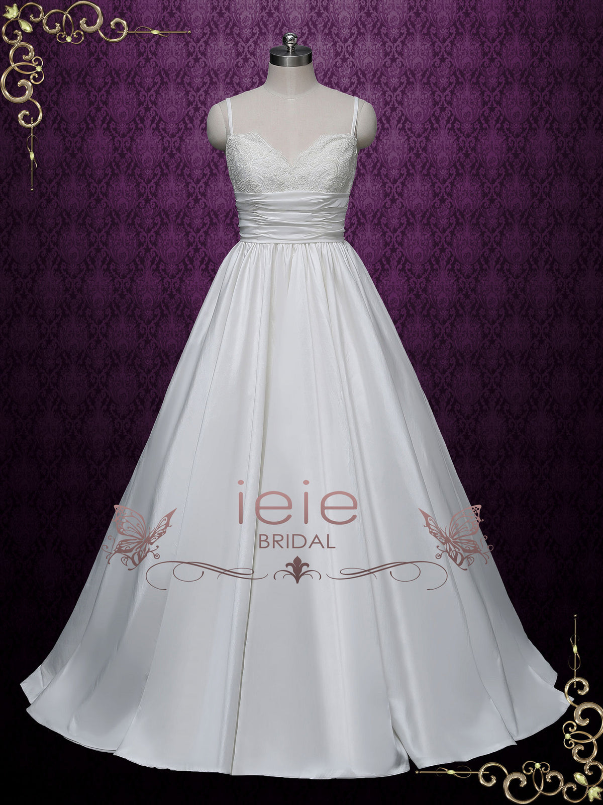 Empire Spaghetti Thin Strap Lace Wedding Dress
